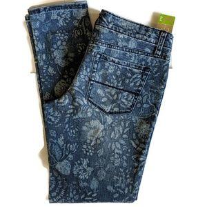 NWT Merona Floral Print Ankle Skinny Jeans sz 4